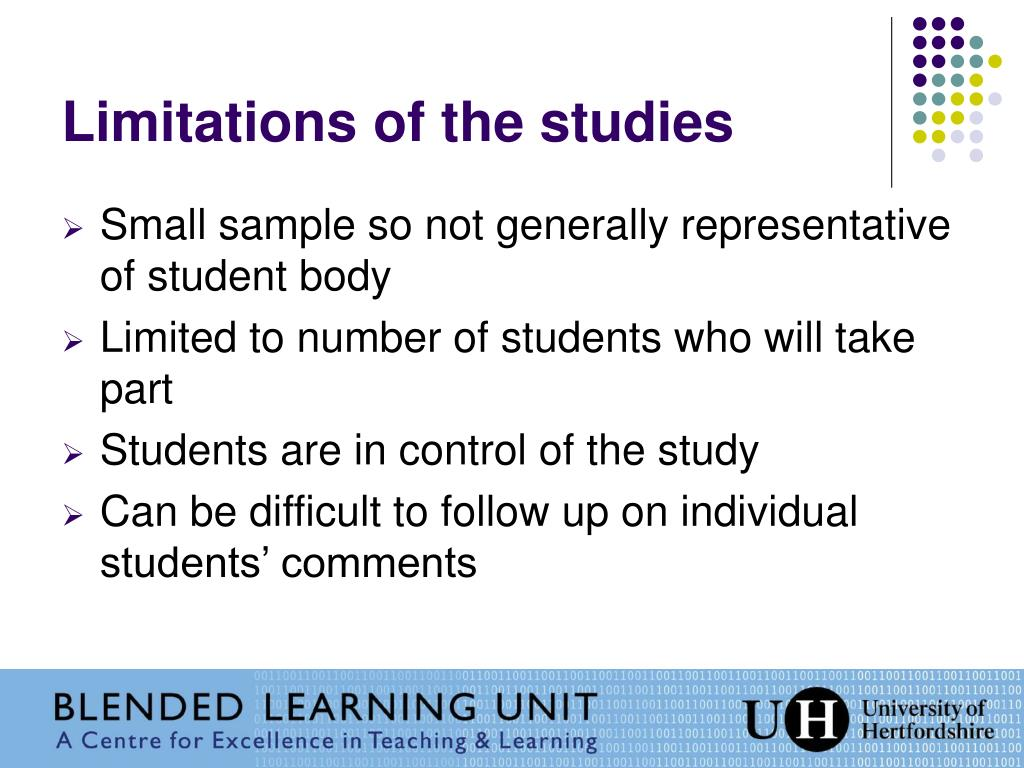 Limitations of the studies