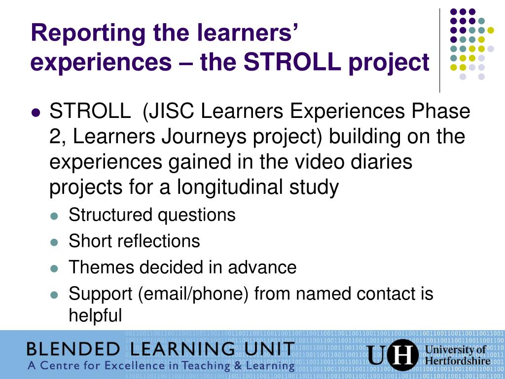 Reporting the learners' experiences – the STROLL project
