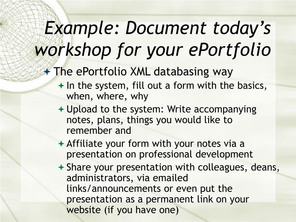 Example: Document today's workshop for your ePortfolio