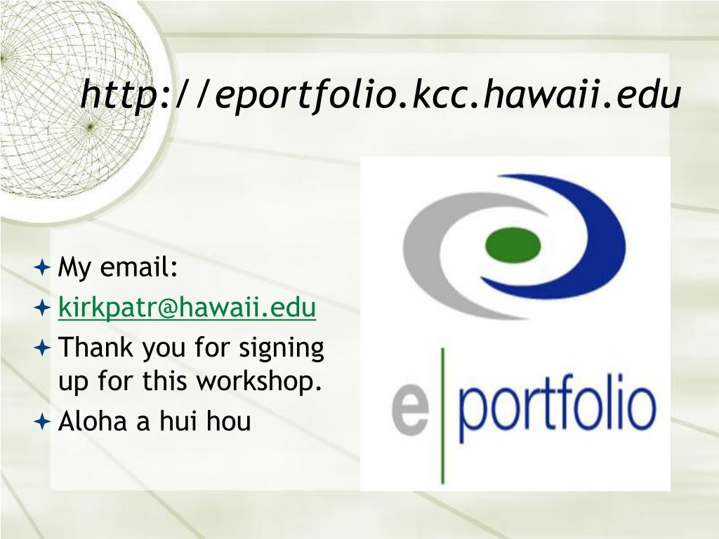 http://eportfolio.kcc.hawaii.edu