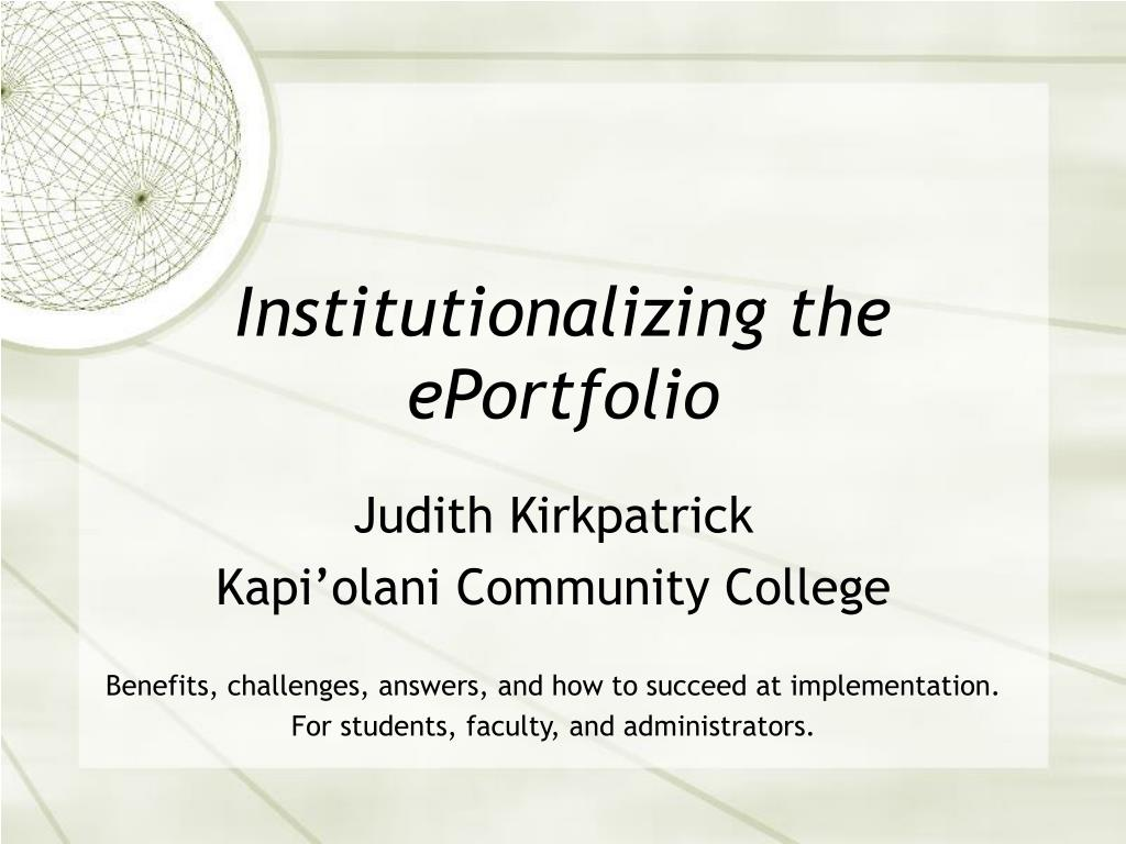 Institutionalizing the ePortfolio