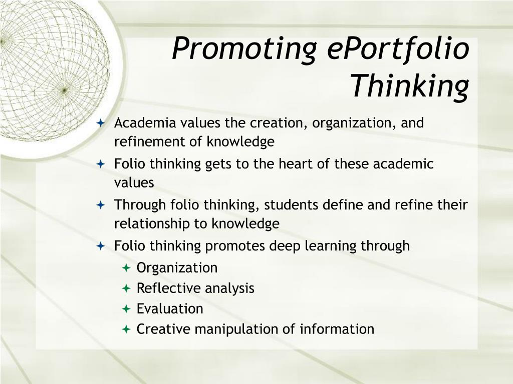 Promoting ePortfolio Thinking
