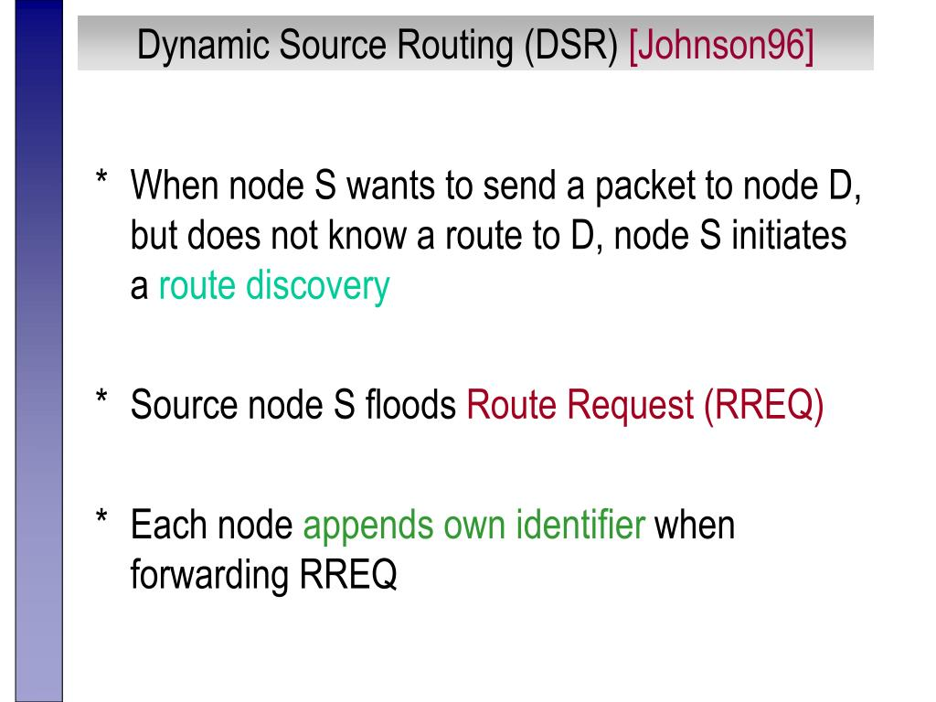 Dynamic Source Routing (DSR)