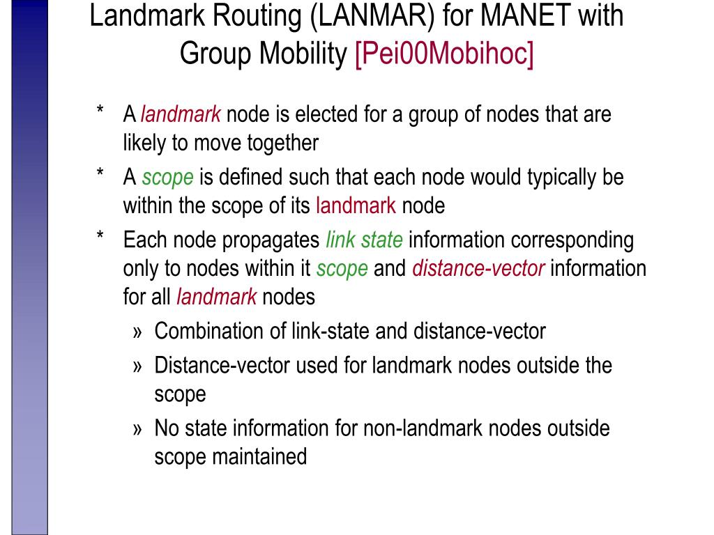 Landmark Routing (LANMAR) for MANET with Group Mobility