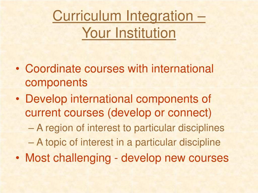 Curriculum Integration –