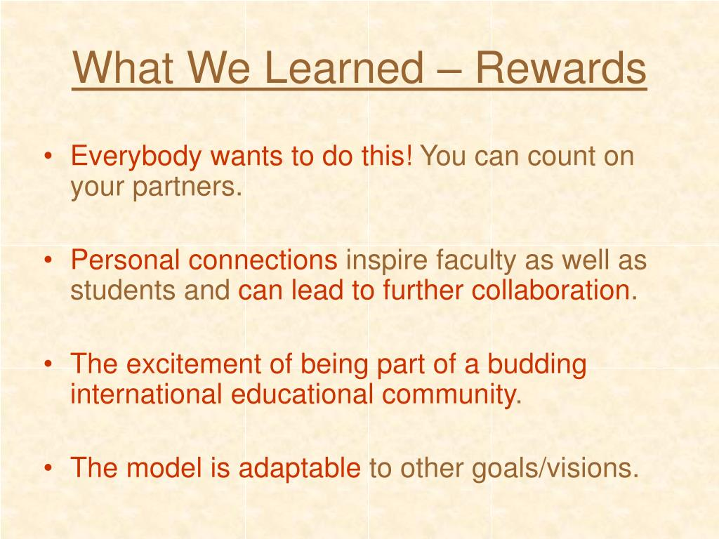 What We Learned – Rewards