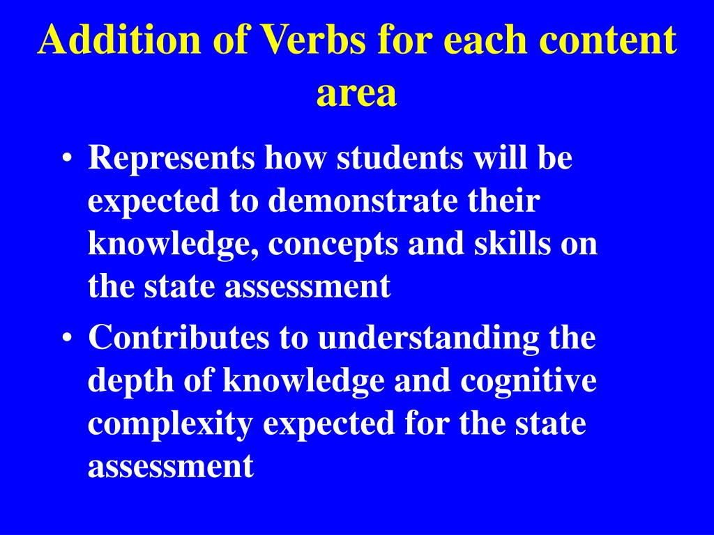 Addition of Verbs for each content area