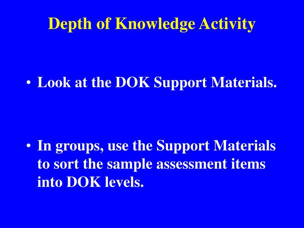 Depth of Knowledge Activity