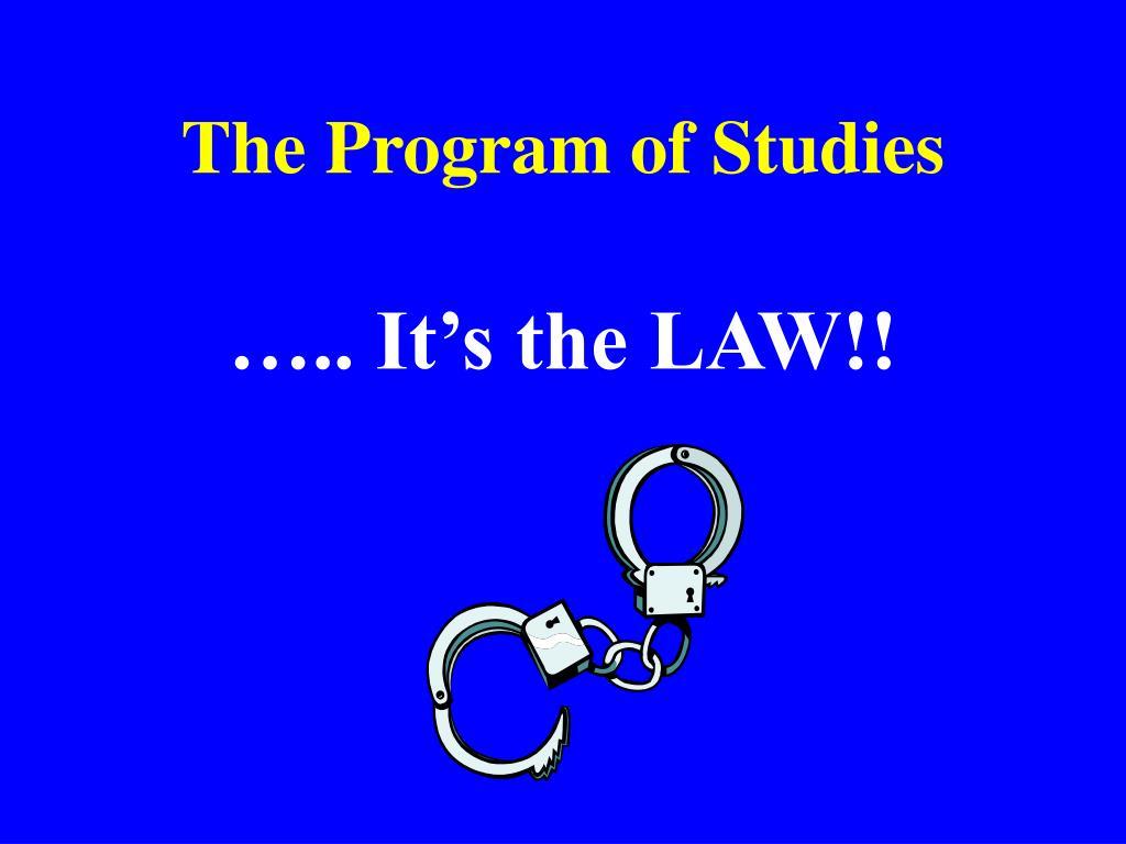 The Program of Studies