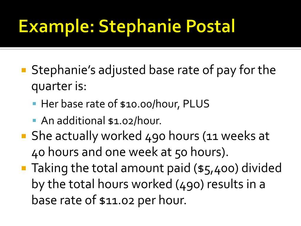 Example: Stephanie Postal