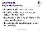 analysis of organizational fit