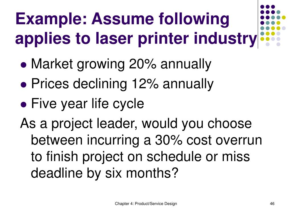 Example: Assume following applies to laser printer industry