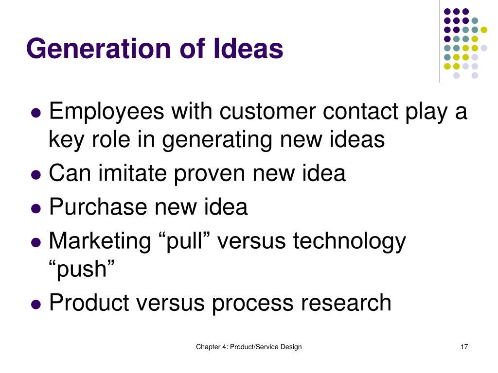 Generation of Ideas