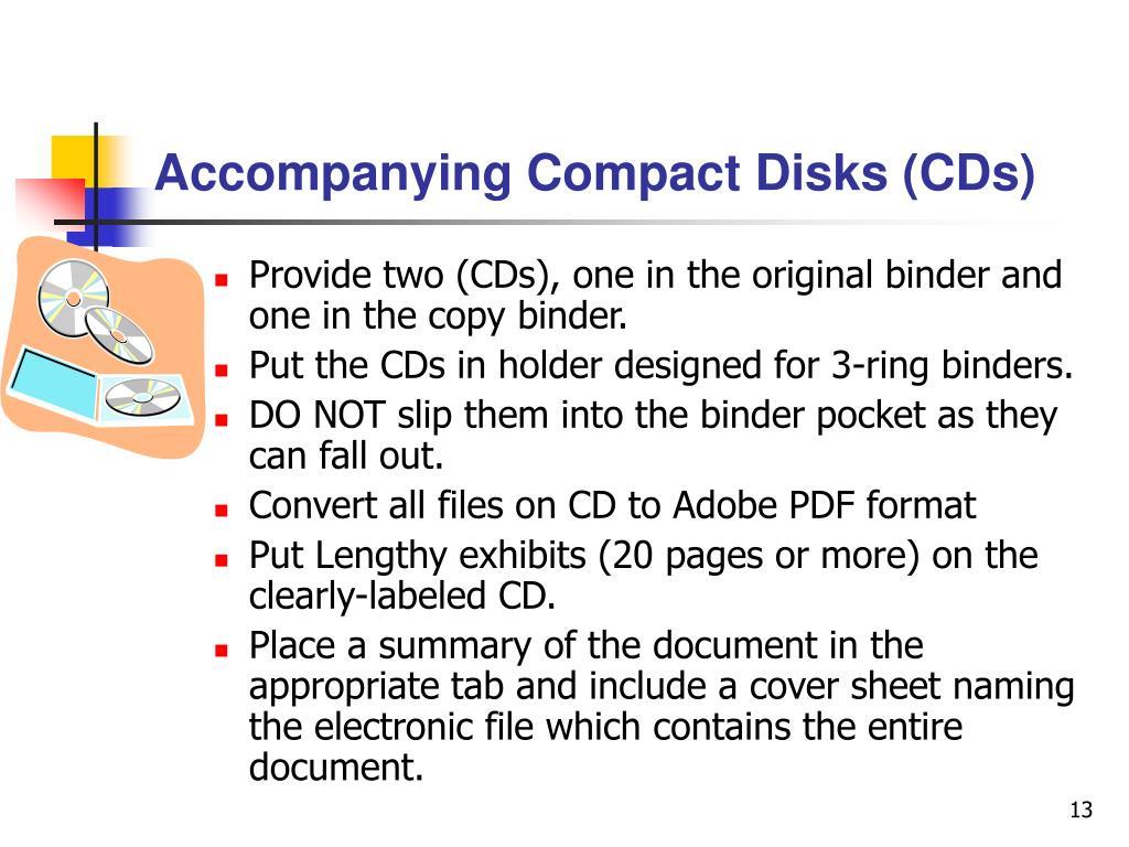Accompanying Compact Disks (CDs)