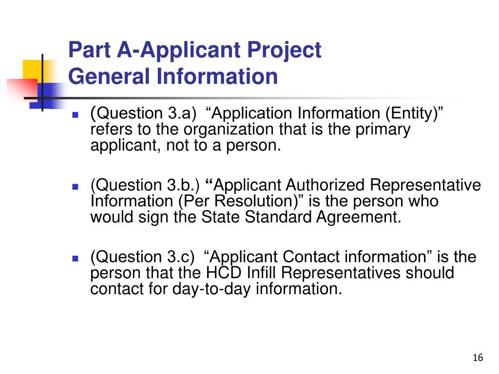 Part A-Applicant Project