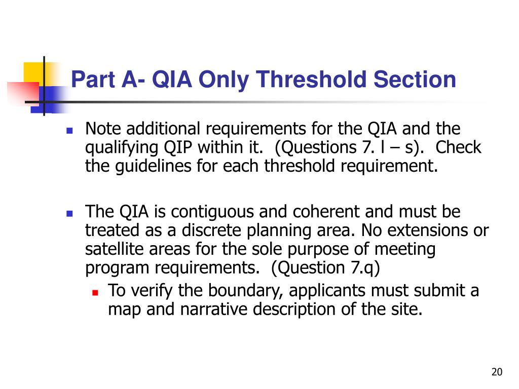 Part A- QIA Only Threshold Section