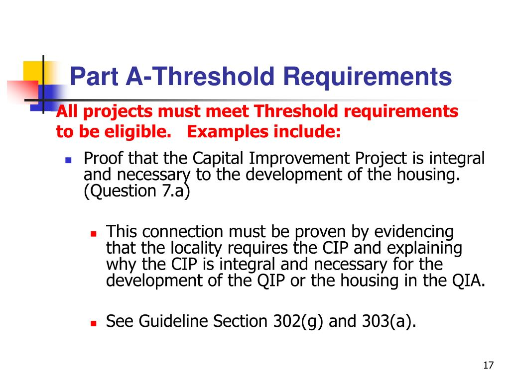 Part A-Threshold Requirements