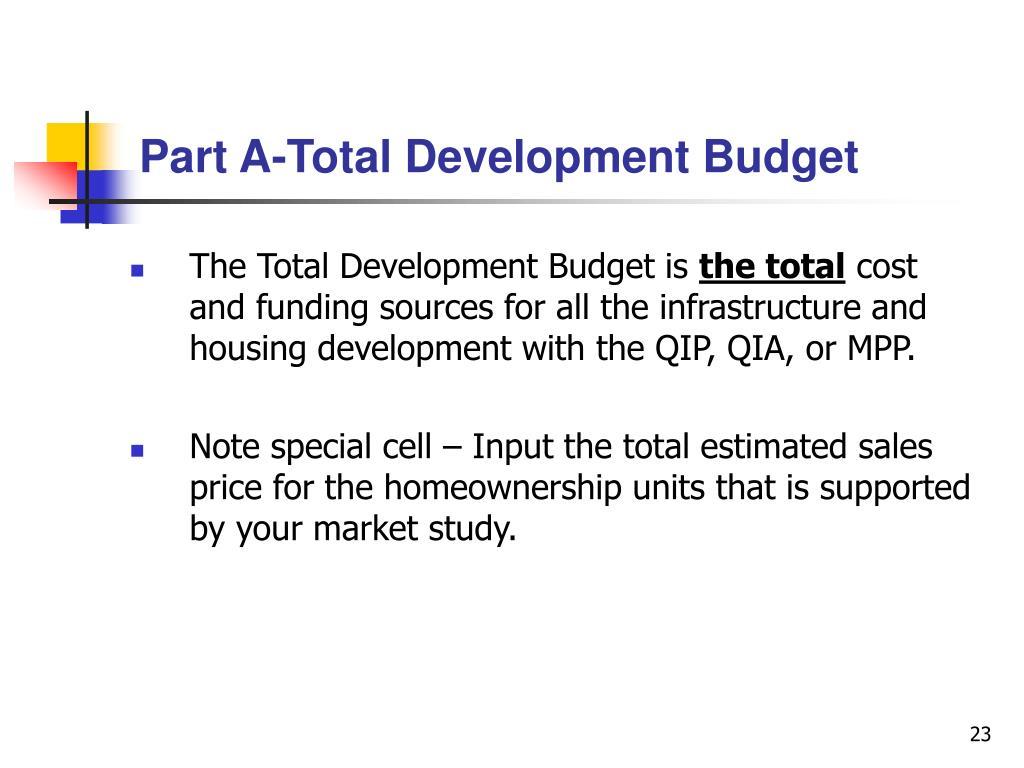 Part A-Total Development Budget
