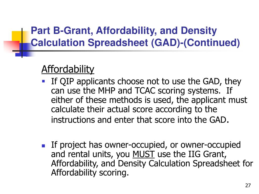 Part B-Grant, Affordability, and Density Calculation Spreadsheet (GAD)-(Continued)