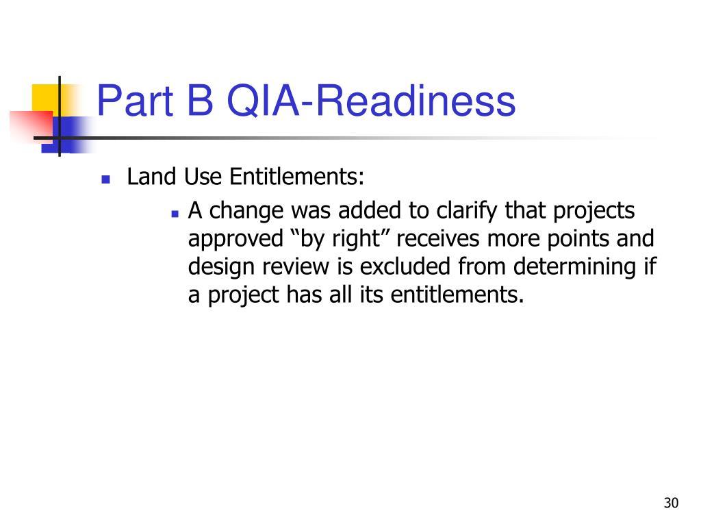 Part B QIA-Readiness