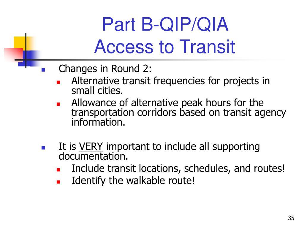 Part B-QIP/QIA