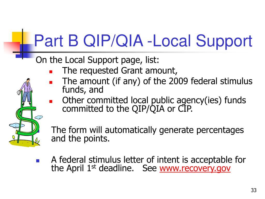 Part B QIP/QIA -Local Support