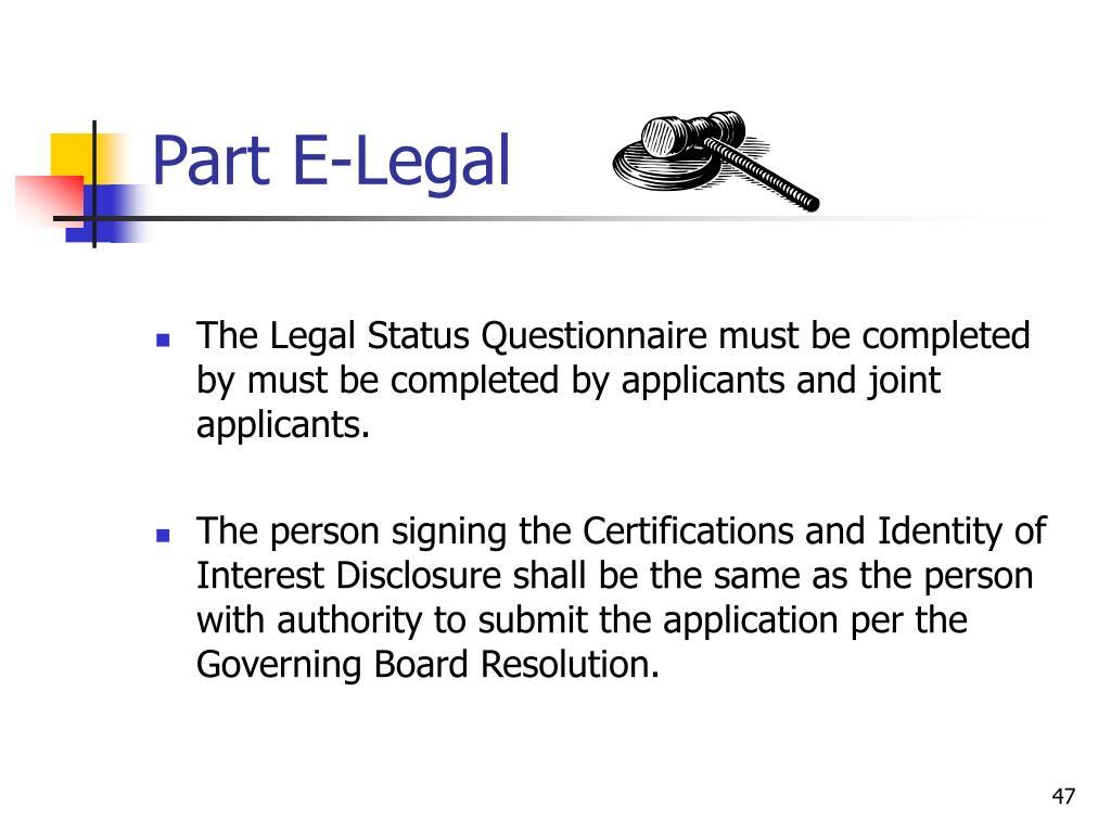 Part E-Legal
