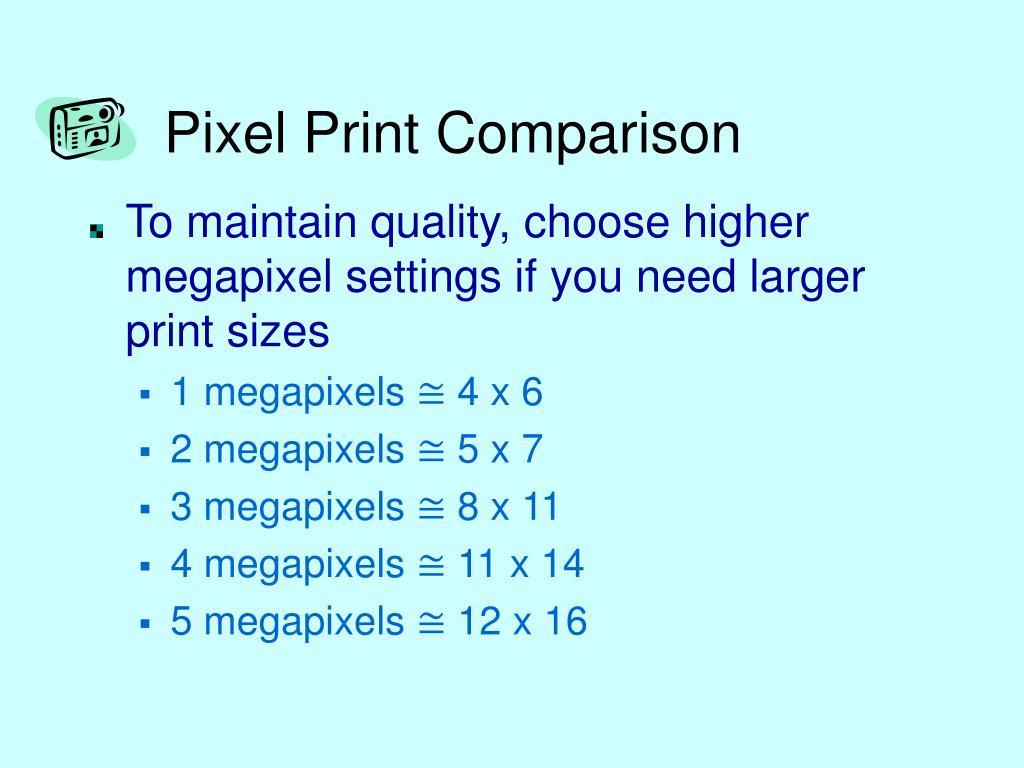 Pixel Print Comparison
