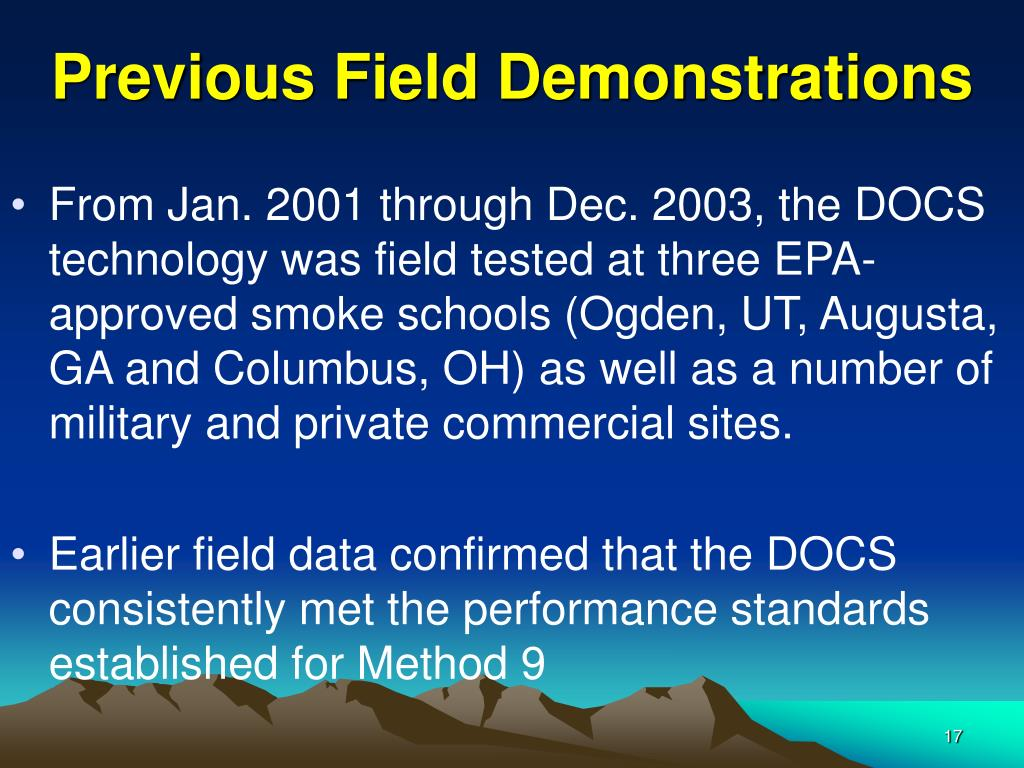 Previous Field Demonstrations