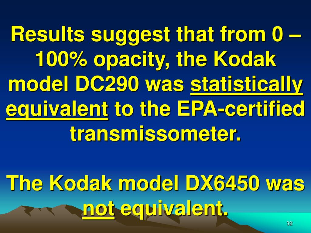 Results suggest that from 0 – 100% opacity, the Kodak model DC290 was