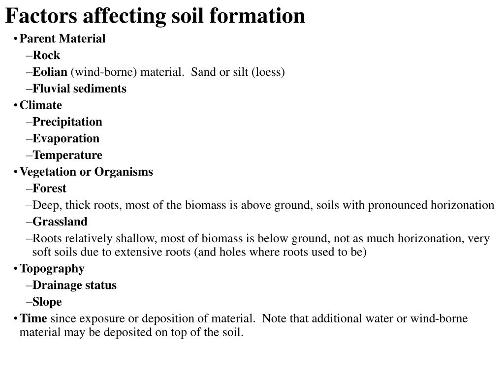 Ppt weathering and soils powerpoint presentation id 728469 for Soil forming factors