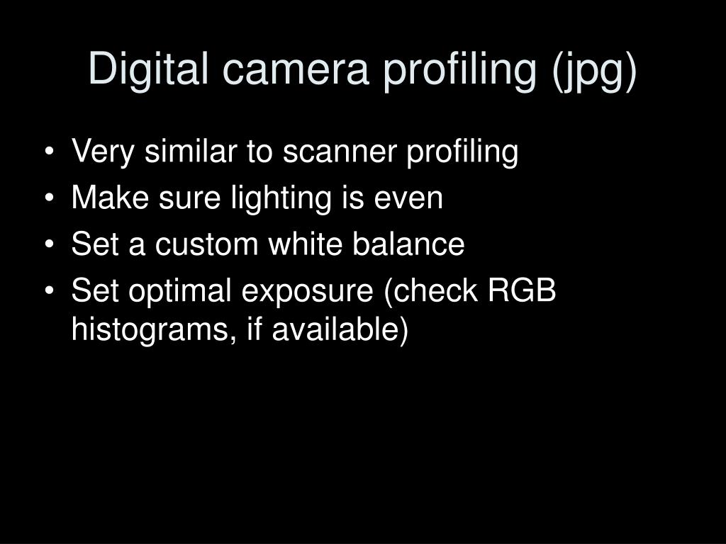 Digital camera profiling (jpg)