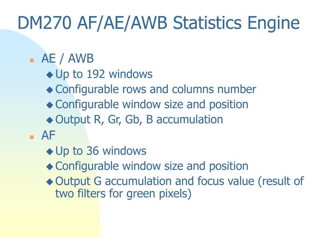 DM270 AF/AE/AWB Statistics Engine