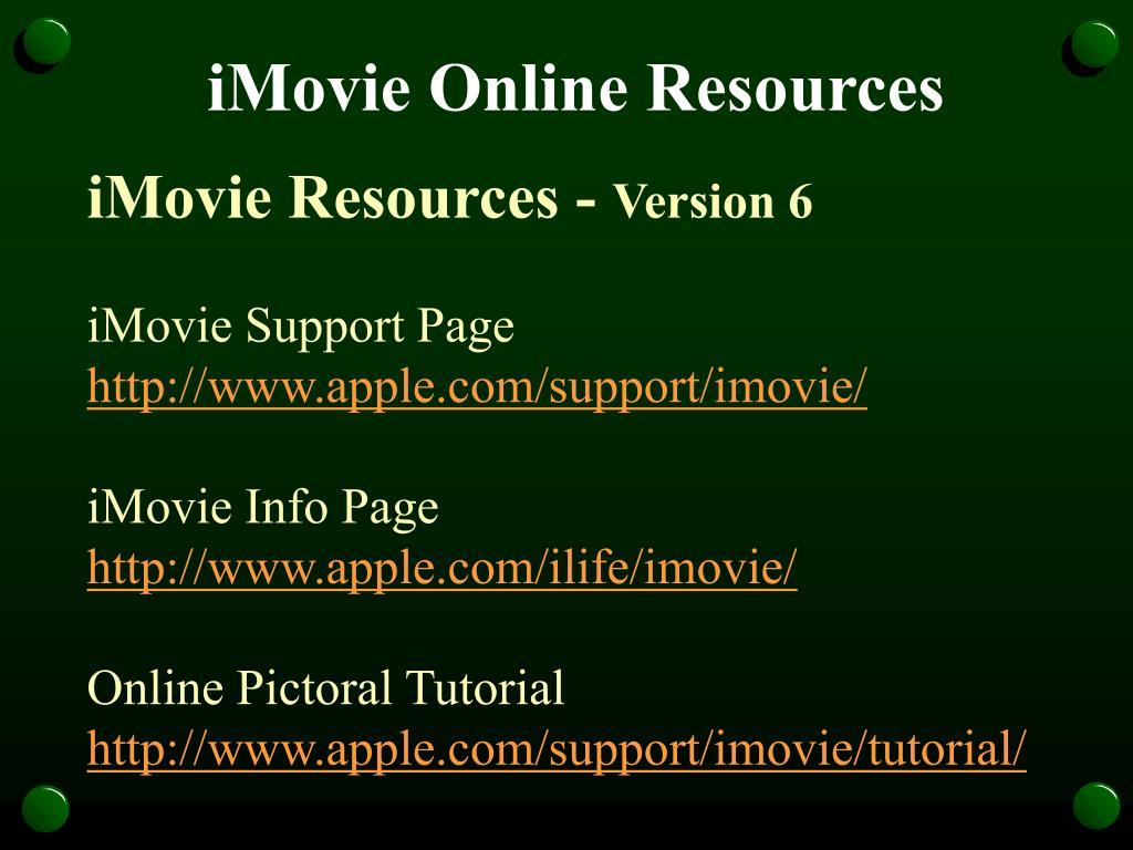 iMovie Online Resources