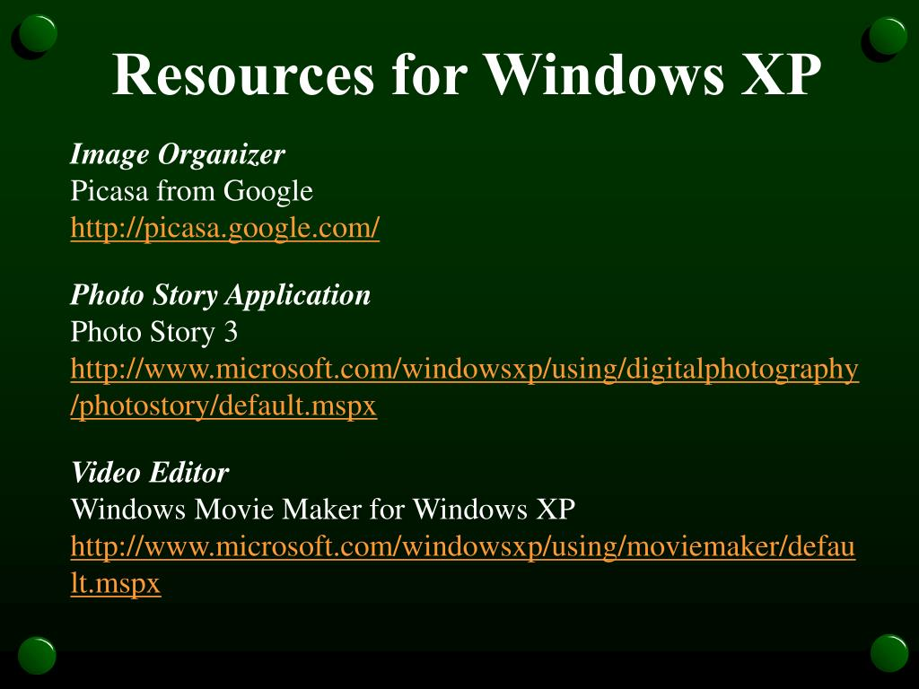 Resources for Windows XP