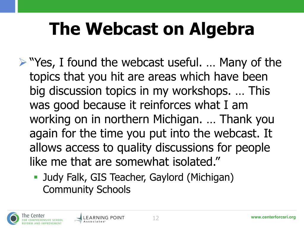 The Webcast on Algebra