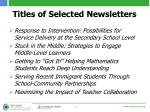 titles of selected newsletters