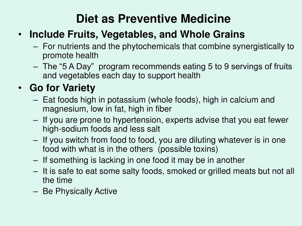Diet as Preventive Medicine