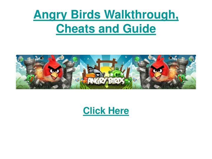 Angry birds walkthrough cheats and guide