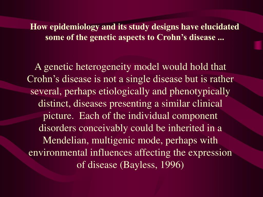 How epidemiology and its study designs have elucidated some of the genetic aspects to Crohn's disease ...