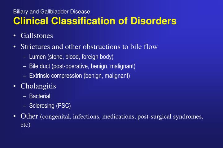 Biliary and gallbladder disease clinical classification of disorders