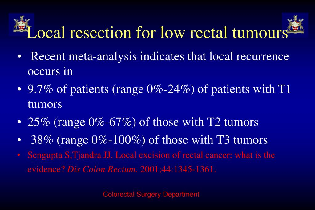 Local resection for low rectal tumours