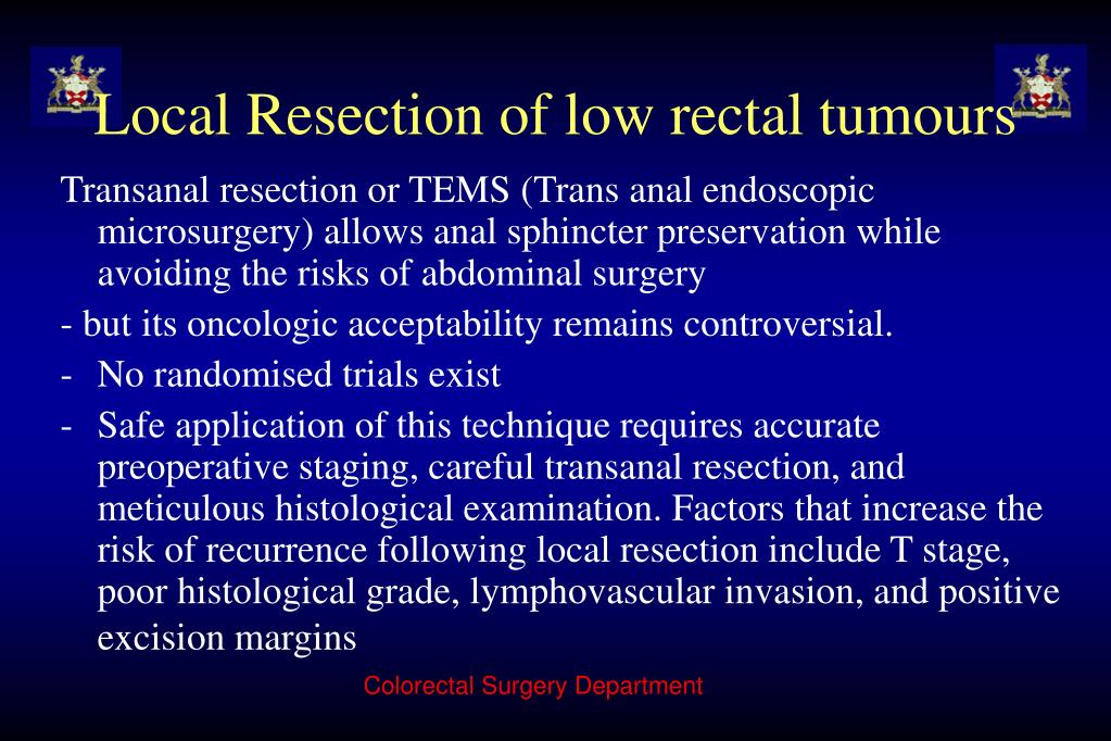 Local Resection of low rectal tumours