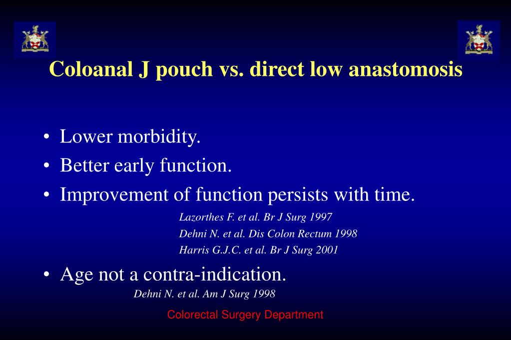 Coloanal J pouch vs. direct low anastomosis