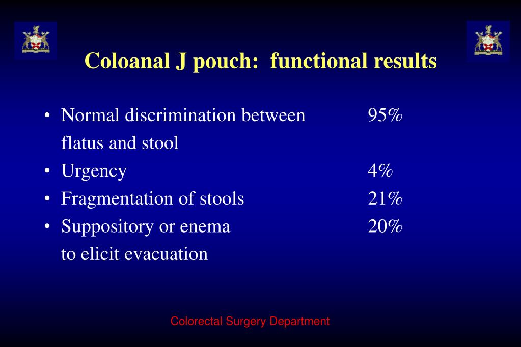 Coloanal J pouch:  functional results