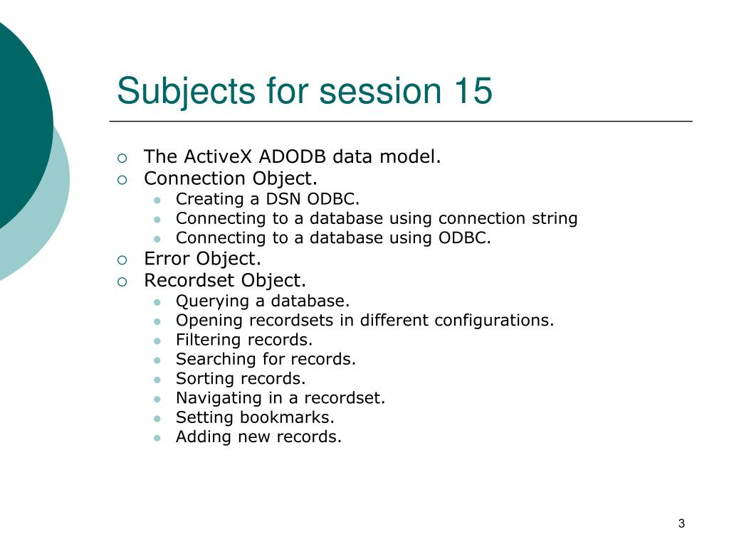 Subjects for session 15
