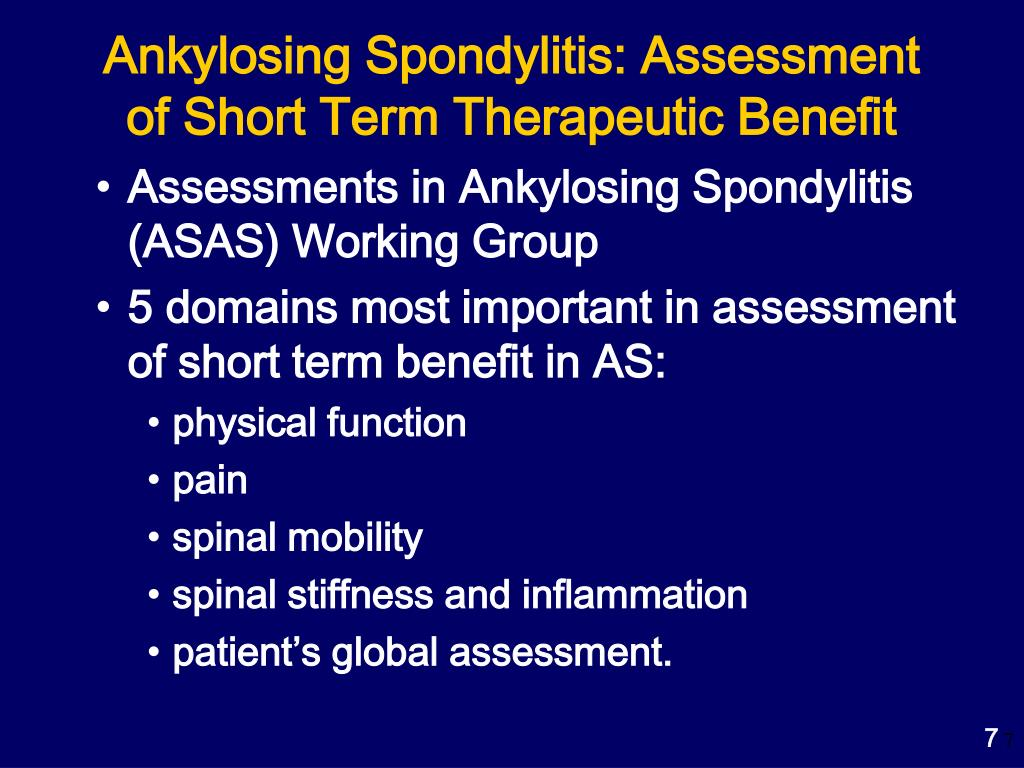 Ankylosing Spondylitis: Assessment of Short Term Therapeutic Benefit