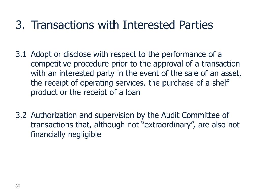 3.	Transactions with Interested Parties
