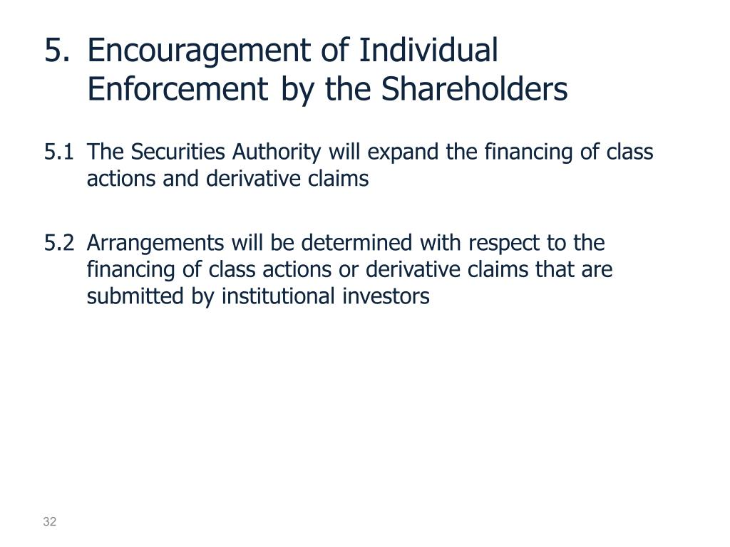 5.	Encouragement of Individual                       Enforcement 	by the Shareholders