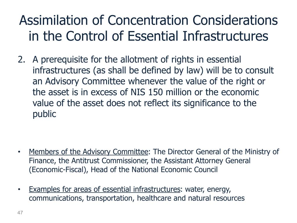 Assimilation of Concentration Considerations in the Control of Essential Infrastructures